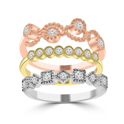 0.63 ct Ladies 3 Piece Round Cut Diamond Wedding Band Ring in 14k White/Yellow/Rose Gold