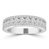 1.16 ct Ladies Three Row Round Cut Diamond Wedding Band in 14 kt White Gold