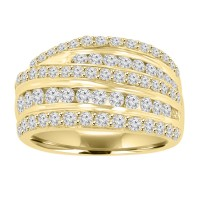 2.00 ct Ladies Round Cut Diamond Anniversary Ring in Prong Setting 14 kt Yellow Gold