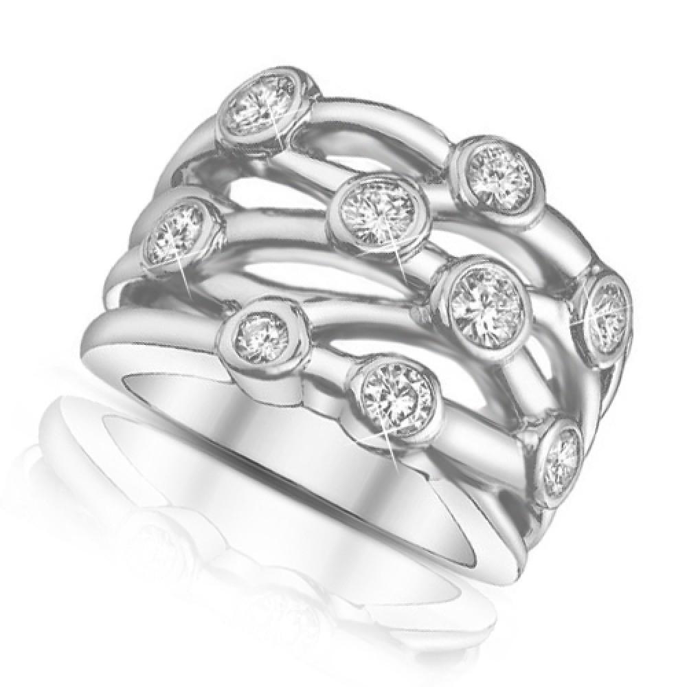 150 Ct Ladies Round Cut Diamond Anniversary Ring In Bezel Setting