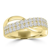 1.00 ct Ladies Round Cut Diamond Anniversary Ring in Prong Setting Yellow Gold