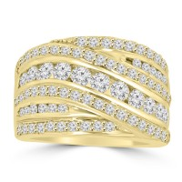 2.10 ct Ladies Round Cut Diamond Anniversary Ring in Prong Setting in 14 kt Yellow Gold