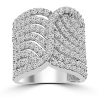 2.65 ct Ladies Round Cut Diamond Designer Cocktail Ring in 14 kt White Gold