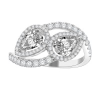 1.75ct Ladies Round Cut & Pear Shape Diamond Anniversary Wedding Band in 14k White Gold (G-H Color I-3 Clarity)