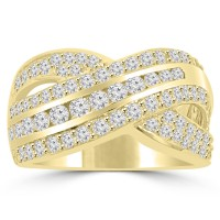 1.90 ct Ladies Round Cut Diamond Anniversary Ring in Prong Setting Yellow Gold