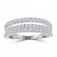 0.90 ct Ladies Round Cut Diamond Anniversary Wedding Band Ring in 14 kt White Gold