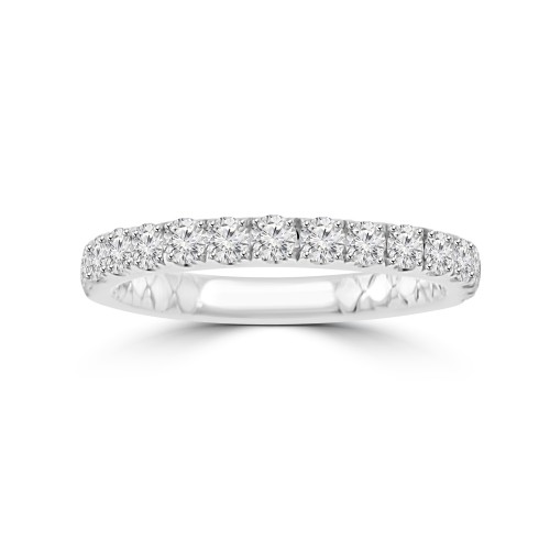 0.90 ct Ladies Micro Pave Set Round Cut Diamond Anniversary Band in 14k White Gold  (H-I Color SI-2 I1 Clarity)