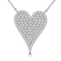 0.20 ct Heart Shaped Diamond Pendant Necklace (G-H Color SI-2 I-1 Clarity) in 14 kt White Gold