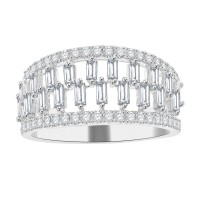 1.10ct Ladies Round Cut & Baguette Diamond Anniversary Wedding Band in 14k White Gold (G-H Color SI-3 Clarity)