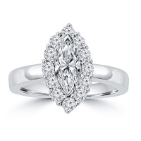 1.46 ct Ladies Marquise and Round Cut Diamond Anniversary Ring in 14 kt White Gold