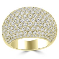 5.25 ct Ladies Round Cut Diamond Anniversary Ring  in Yellow Gold