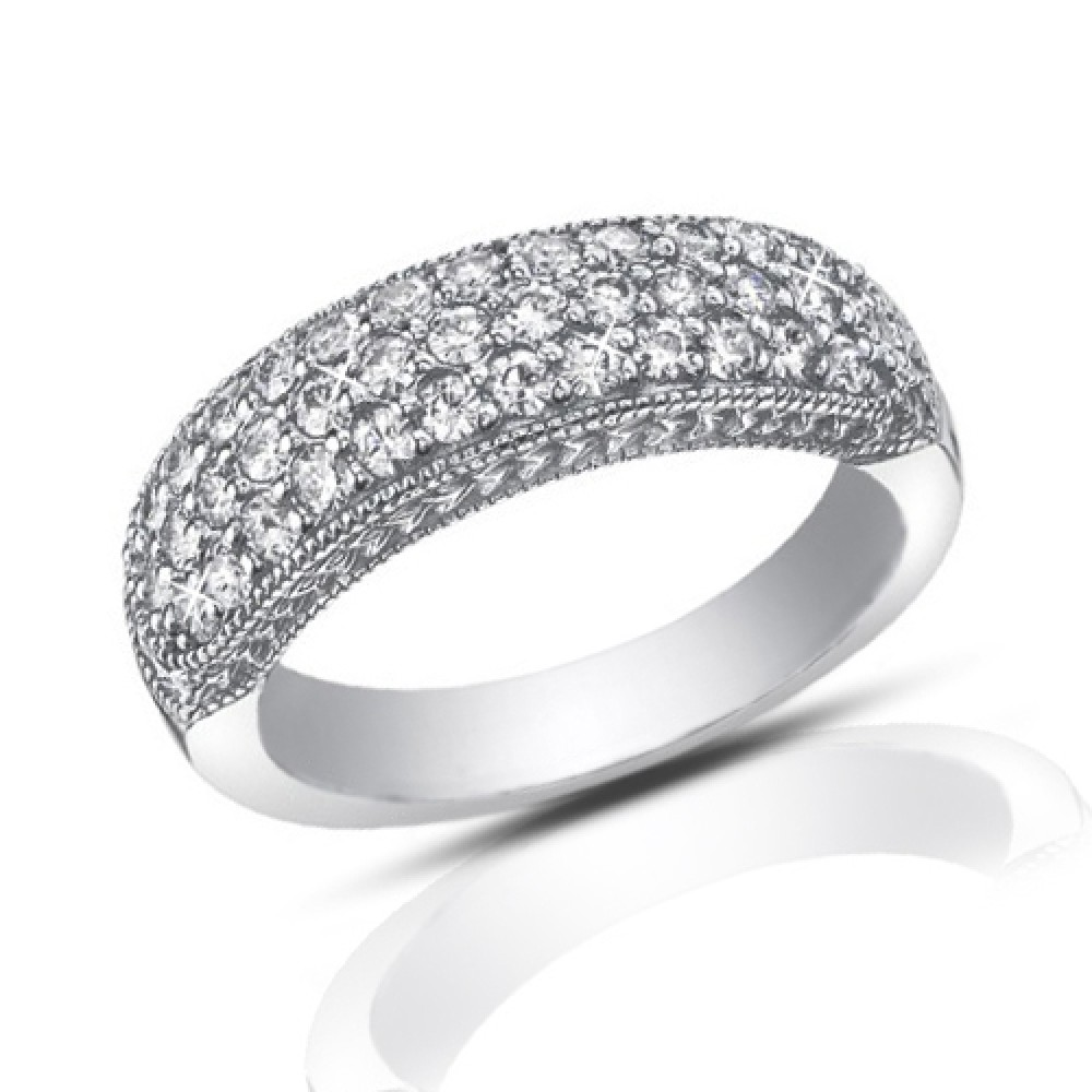 1ct Diamond Bands: 1.00 Ct Pave Set Round Cut Diamond Wedding Band Ring