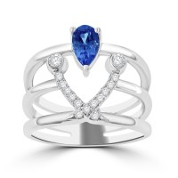 0.92  Ct Pear Shape Tanzanite & Round Cut Diamond Anniversary Ring