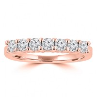 0.50 ct Ladies Round Cut Diamond Wedding Band in 14 kt Rose Gold