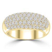 1.44 ct Ladies Five Row Round Cut Diamond Anniversary Ring in Yellow Gold