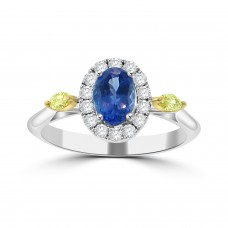 0.83 Ct Oval Cut Tanzanite & Round and Marquise  Cut Diamond Engagement Ring ( G-H Color SI-2 I1 Clarity)