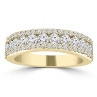 1.16 ct Ladies Three Row Round Cut Diamond Wedding Band in 14 kt Yellow Gold