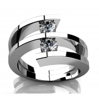 0.60 ct Two Round Cut Diamonds Anniversary Ring