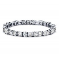 8.00 ct Ladies Baguette and Round Cut Diamond Tennis Bracelet In Channel and Prong Setting