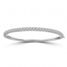 2.00 ct Round Cut Diamond Bangle Bracelet in 14 kt White Gold