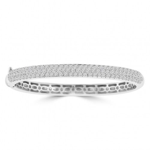 4.10 ct Pave Set Diamond Banglel Bracelet in 14 kt White Gold