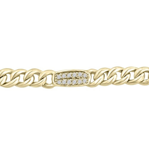 0.36 ct Ladies Cuban Link Round Cut Diamond Tennis Bracelet in 14kt Yellow Gold