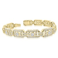 2.50 ct Ladies Round Cut Diamond Tennis Bracelet in 14 kt Yellow Gold