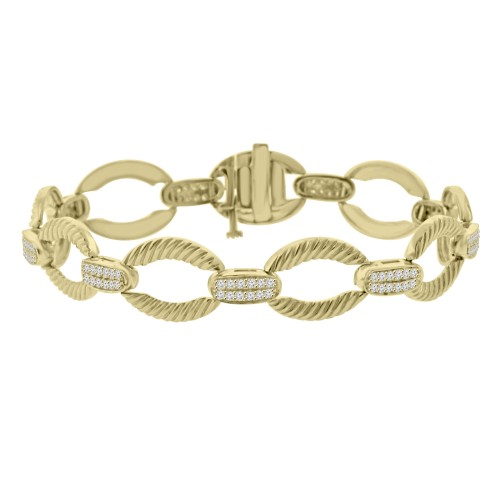 1.08 ct Ladies Round Cut Diamond Designer Bracelet in 14 kt Yellow Gold