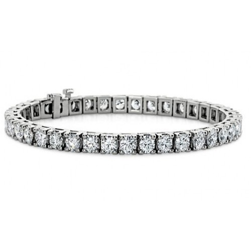 4.00 ct Ladies Round Cut Diamond Tennis Bracelet in 14 kt White Gold