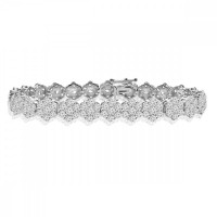 10.65 ct Ladies Round Cut Diamond Tennis Bracelet in 14 kt White Gold