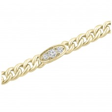 0.76 ct Ladies Cuban Link Round Cut Diamond Tennis Bracelet in 14kt Yellow Gold