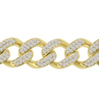 10.15 ct Men's Round Cut Diamond Miami Cuban Link Bracelet in 14 kt Yellow  Gold
