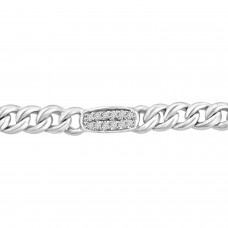 0.36 ct Ladies Cuban Link Round Cut Diamond Tennis Bracelet in 14kt White Gold