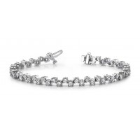 5.00 ct Ladies Round Cut Diamond Tennis Bracelet In Prong Setting In 14 kt White Gold