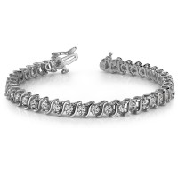 3.00 ct Round Cut Diamond S-Type Tennis Bracelet