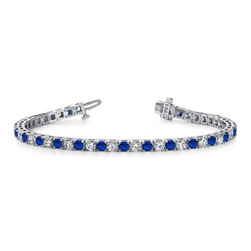 10.00 ct Ladies Round Cut Diamond And  Sapphire Tennis Bracelet in 14 kt White Gold