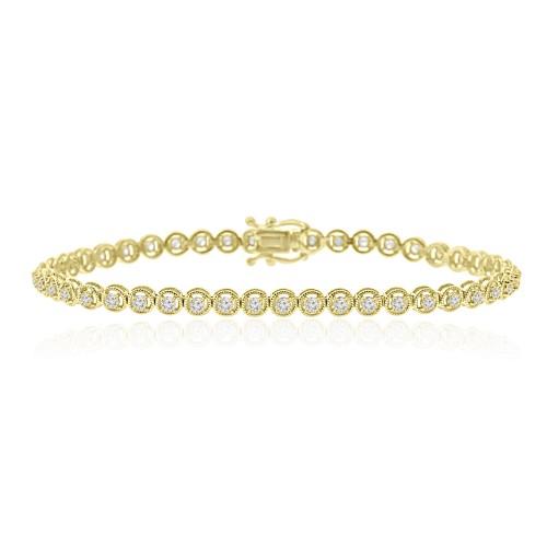 1.15 ct Ladies Round Cut Diamond Tennis Bracelet in 14 kt Yellow Gold