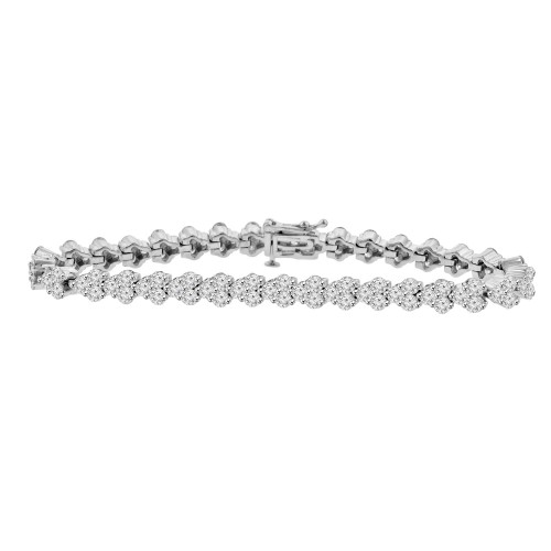 8.51 ct Ladies Round Cut Diamond Tennis Bracelet in 14 kt White Gold