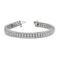 6.50 ct Ladies Three Row Round Cut Diamond Tennis Bracelet in 14 kt