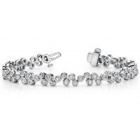 3.50 ct Ladies Round Cut Diamond Tennis Bracelet In Bezel Setting In 14 kt White Gold