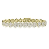 10.65 ct Ladies Round Cut Diamond Tennis Bracelet in 14 kt Yellow Gold