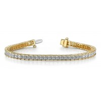 6.00 ct Ladies Princess Cut Diamond Tennis Bracelet In Channel Setting  Yellow Gold