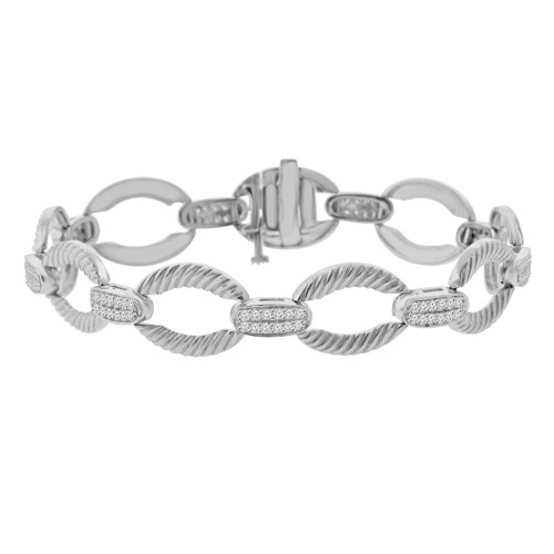 1.08 ct Ladies Round Cut Diamond Designer Bracelet in 14 kt White Gold