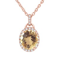 1.50 ct Round Cut Diamond & Oval Shape Morganite Pendant Necklace (G-H Color SI-2 I-1 Clarity) in 14 kt Rose Gold