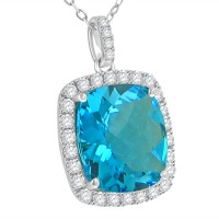 9.37 ct Blue Topaz Round Cut Diamond & Cushion Cut Pendant Necklace (G-H Color SI-2 I-1 Clarity) in 14 kt White Gold