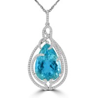 19.72 Ct Ladies Pear Shaped Blue Topaz Round Cut Diamond Pendent Necklace (G-H Color SI-2 I-1 Clarity) in 14 kt White Gold