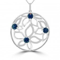 1.22 Ct Round Cut Diamond Sapphire Pendant Necklace in 14k White Gold
