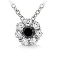 1.00 ct Ladies Black Diamond Solitaire Pendant / Necklace