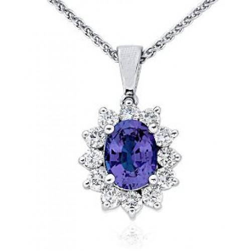 3.00 ct Ladies Sapphire and Diamond Pendant
