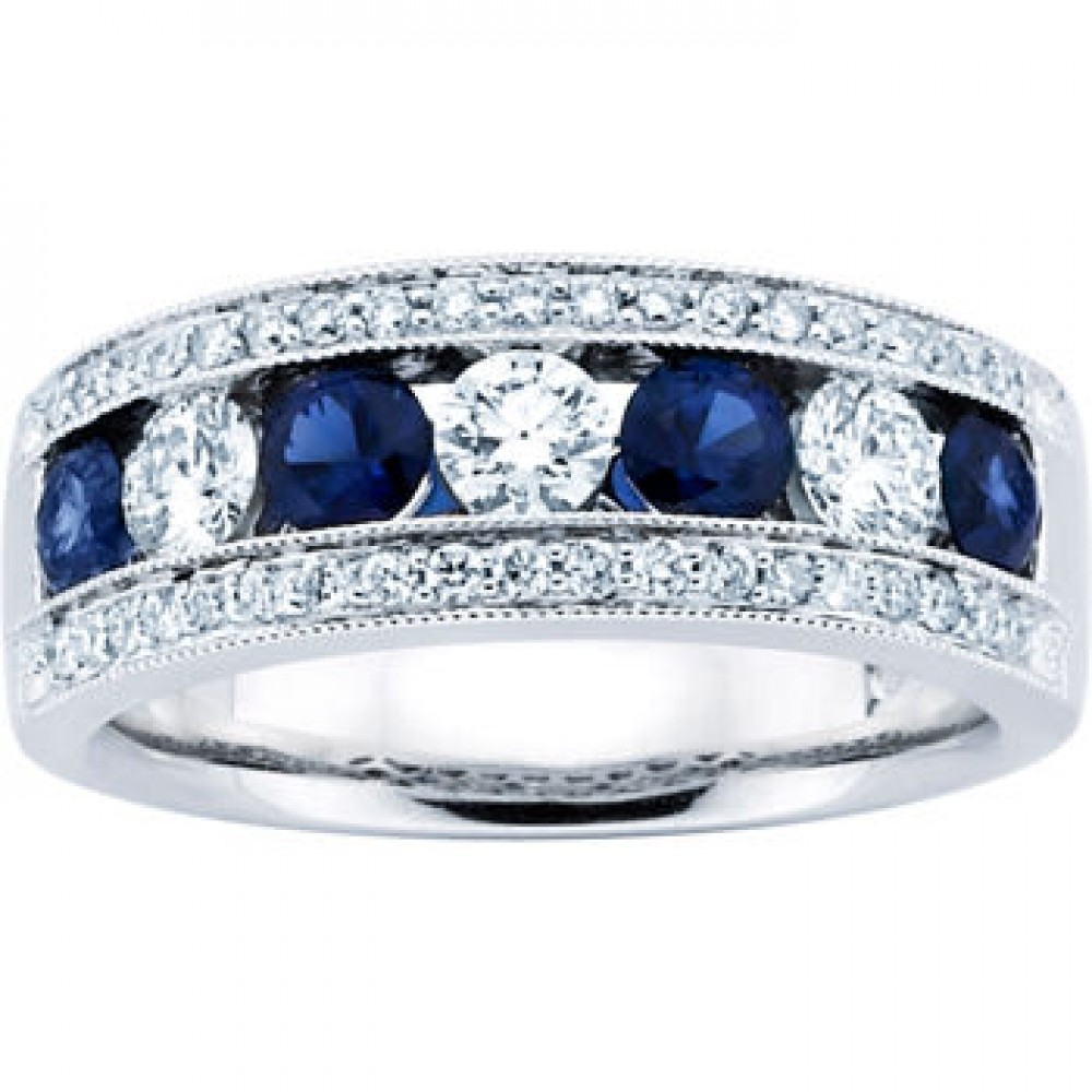 seven stone round diamonds blue sapphires wedding band 035 tcw